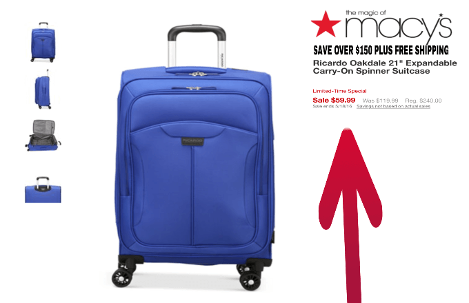 Macy's Best Luggage Deal Save 75% Deal