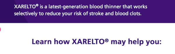 BLOOD THINNER XARELTO
