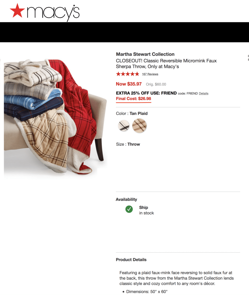 Martha Stewart Blanket deal Macy's