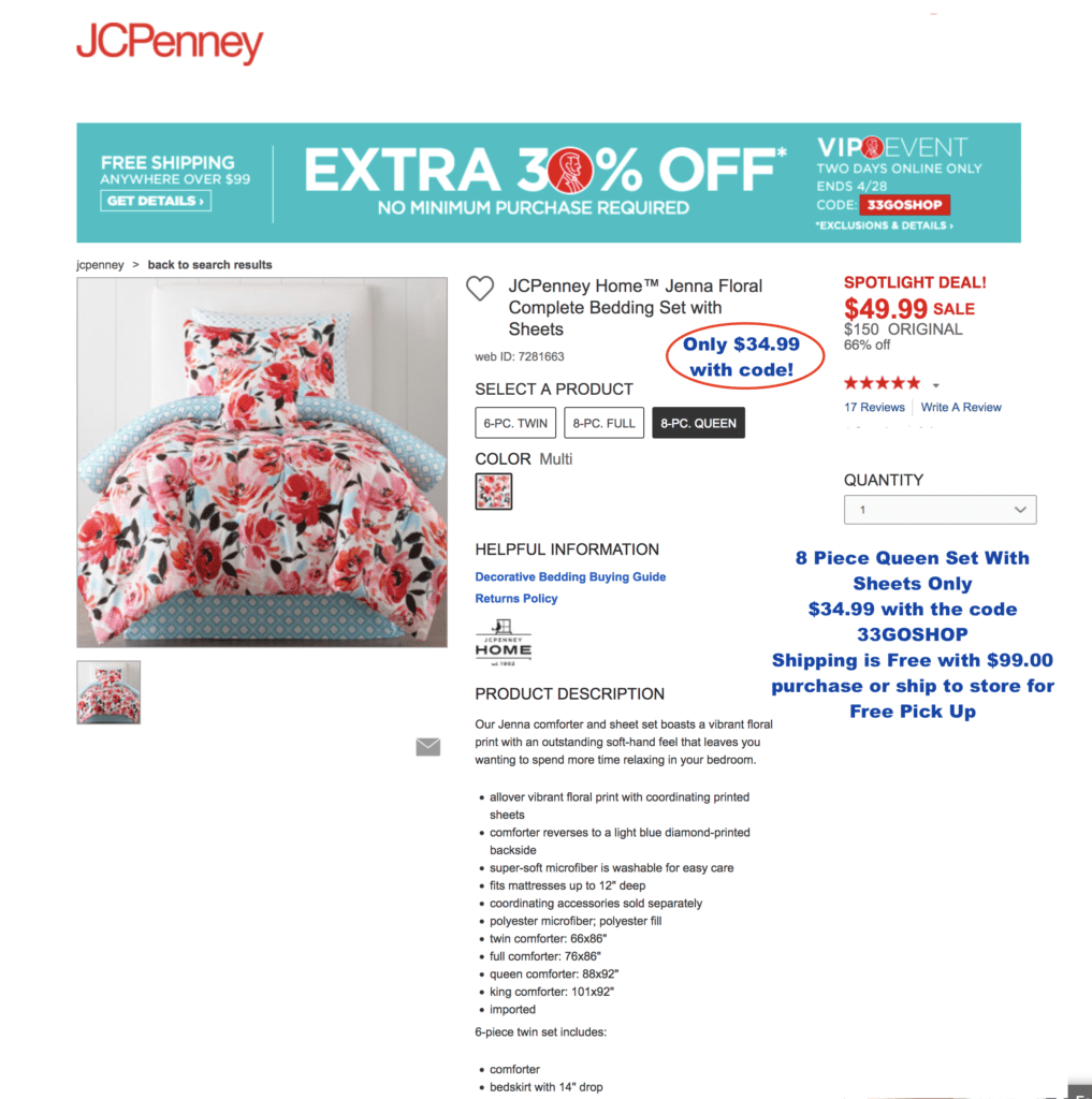 best jcpenny deal bedding promo code