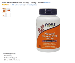 NOW Natural Resveratrol 200mg, 120 Veg Capsules