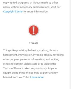YouTube-Threats-Policy